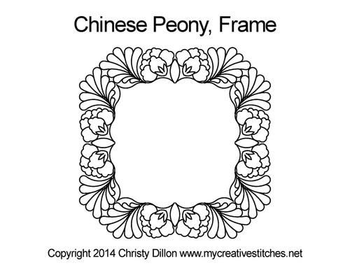 Chinese peony frame quilt pattern