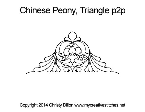 Chinese peony triangle p2p quilt pattern