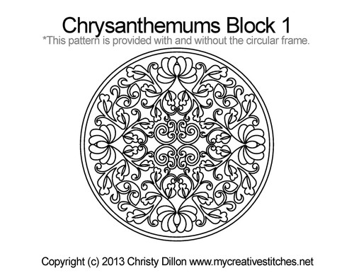 Chrysanthemums block 1 quilt pattern