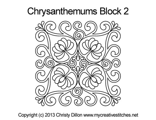 Chrysanthemums square block 2 quilt pattern