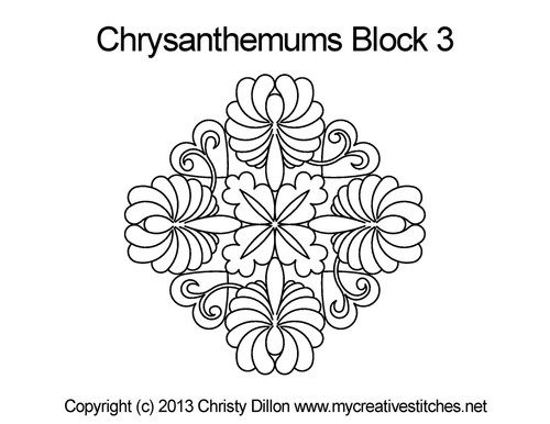Chrysanthemums triangle block quilt pattern