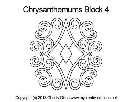 Chrysanthemums quilting patterns for block