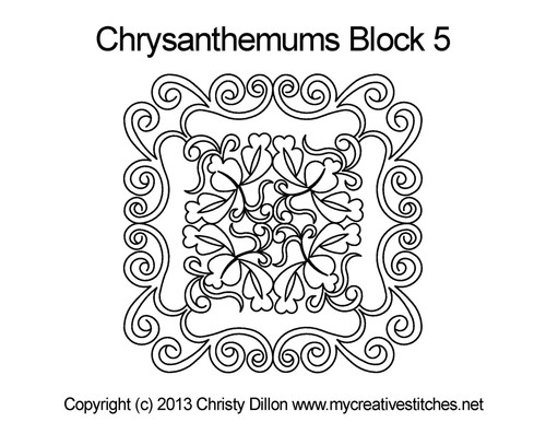 Chrysanthemums square block 5 quilt pattern