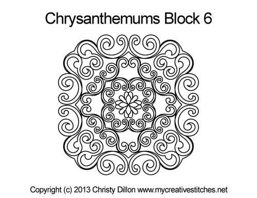 Chrysanthemums square block quilt pattern