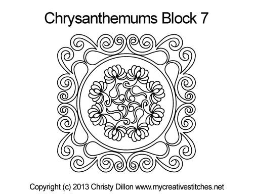 Chrysanthemums block 7 quilt pattern