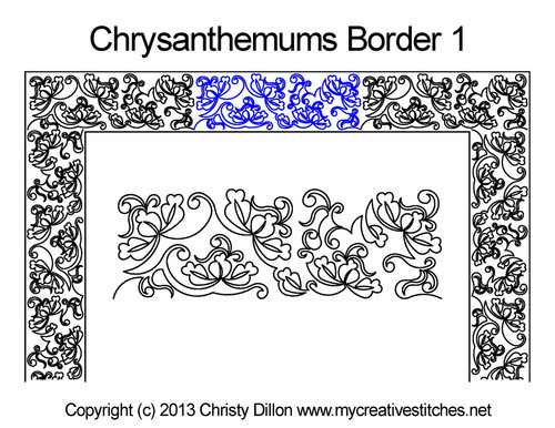 Chrysanthemums border 1 quilt pattern