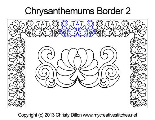 Chrysanthemums square border quilt pattern