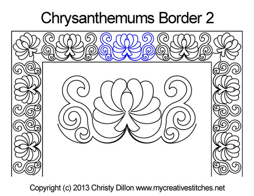 Chrysanthemums square border quilt pattern