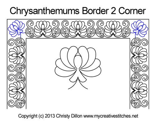 Chrysanthemums border & corner quilt pattern