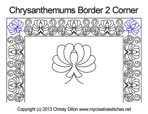 Chrysanthemums border & corner quilt pattern