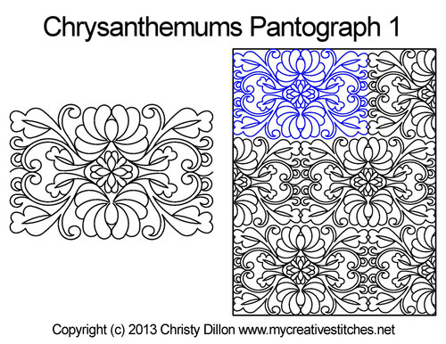 Chrysanthemums long arm quilting pantographs