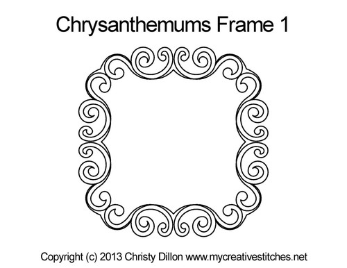 Chrysanthemums digitized quilt frame pattern