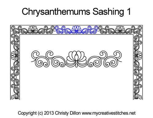 Chrysanthemums sashing quilt pattern