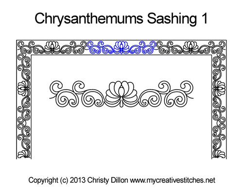 Chrysanthemums sashing quilt pattern
