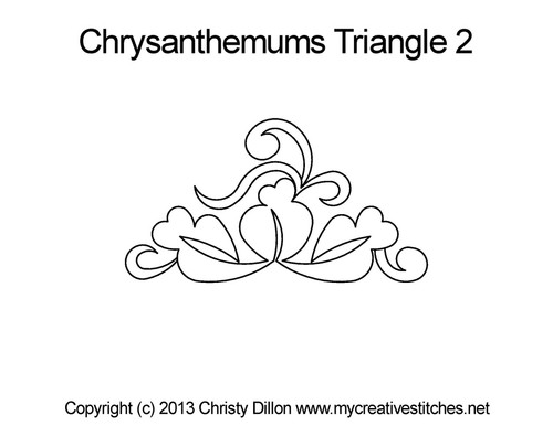 Chrysanthemums triangle half block quilt pattern