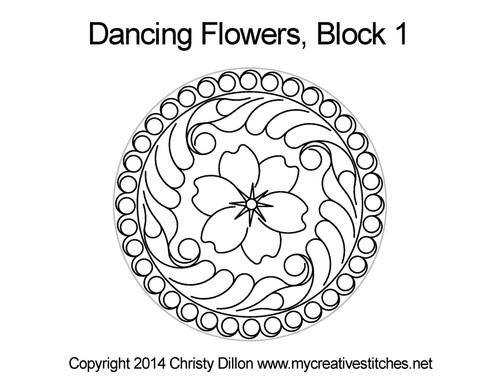 Dancing Flower Block 1 Quilting Design
