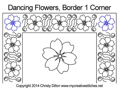 Dancing Flowers border & corner quilt design