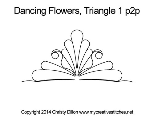Dancing flowers triangle 1 p2p quilt design
