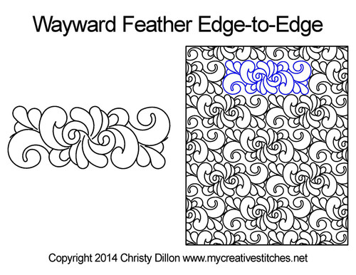 Wayward feather edge-to-edge quilt pattern