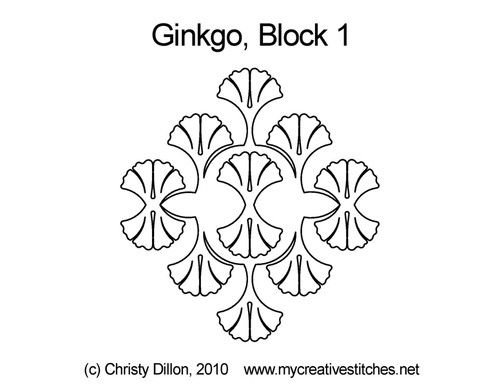 Ginkgo block 1 quilting pattern