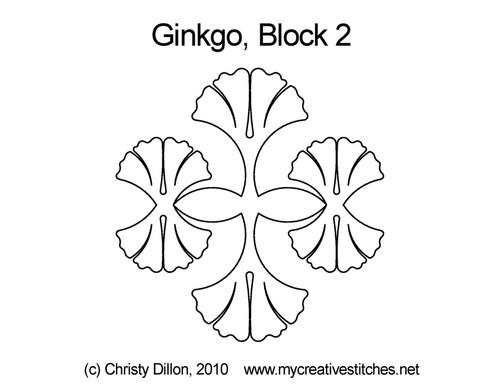 Ginkgo triangle block 2 quilt pattern