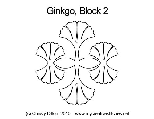Ginkgo triangle block 2 quilt pattern