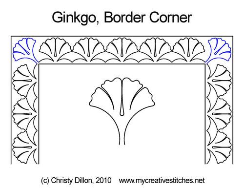 Ginkgo border & corner quilt pattern