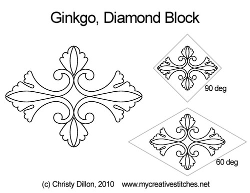 Ginkgo leaf diamond block quilt pattern