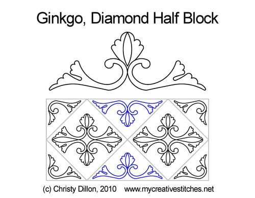 Ginkgo diamond half block quilt pattern