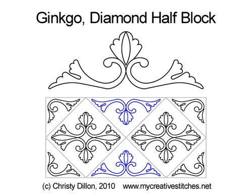 Ginkgo diamond half block quilt pattern