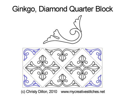 Ginkgo diamond quarter block quilt pattern