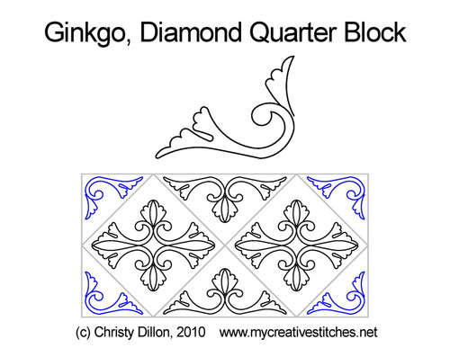 Ginkgo diamond quarter block quilt pattern