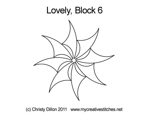 Lovey digital quilting pattern for block 6