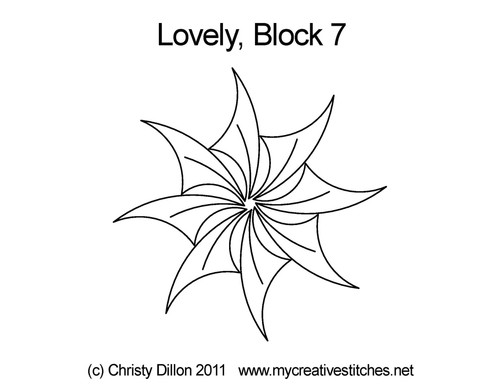 Lovey digital quilting pattern for block 7