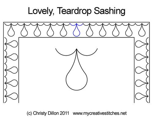 Lovely teardrop sashing quilt pattern