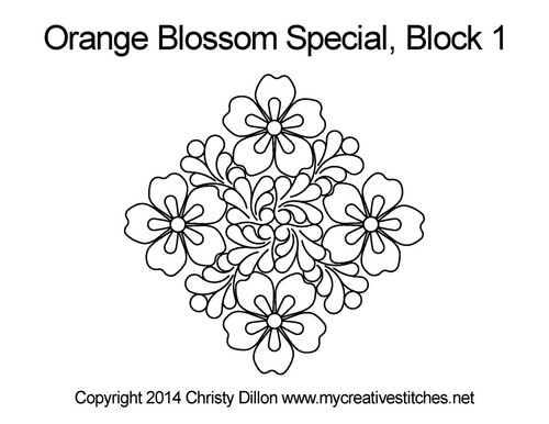 Orange blossom special digital quilt for block 1
