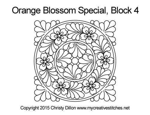Orange blossom special quilting for block 4
