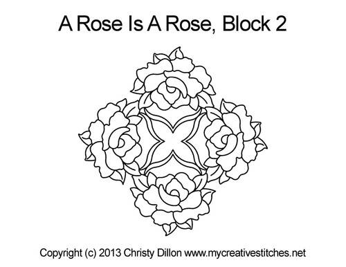 Rose block quilting design