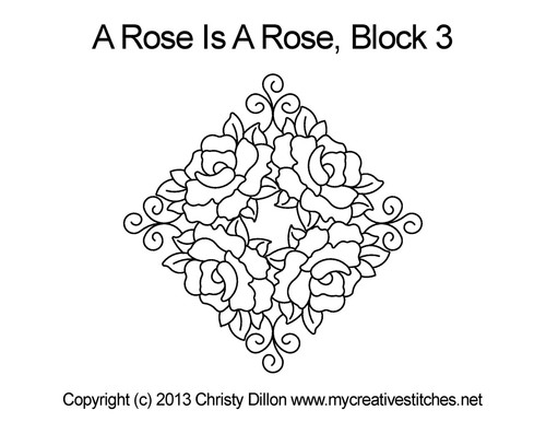 A rose is rose block 3 quilt pattern