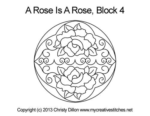 Round Rose block quilt design