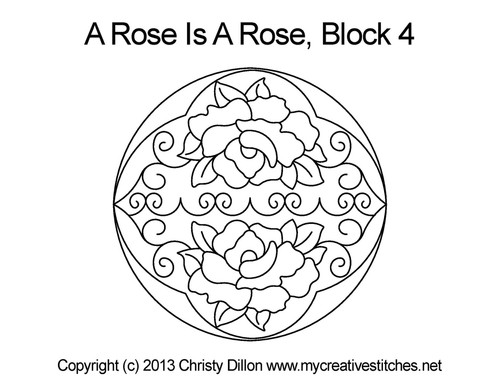 Round Rose block quilt design