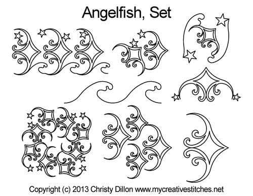 Anglefish computerized quilting design free set