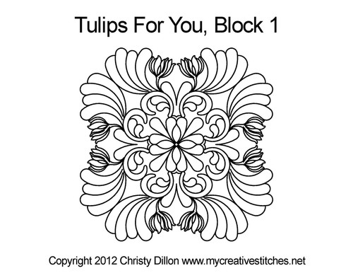 Tulips for you quilting design for block 1