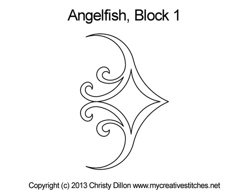 Anglefish block 1 quilting designs