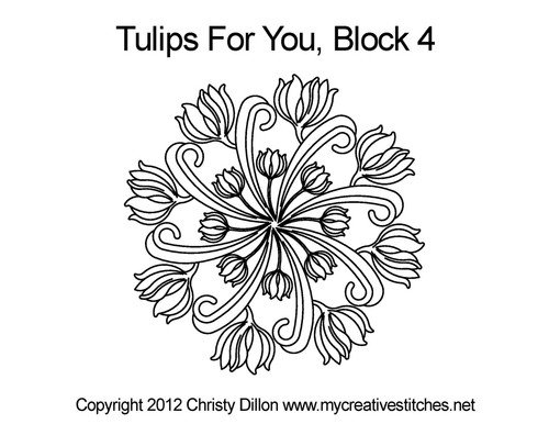 Tulips for you quilting design for block 4