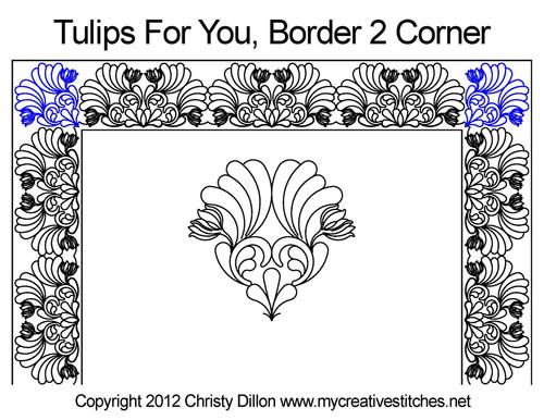 Tulips for you border & corner quilt pattern