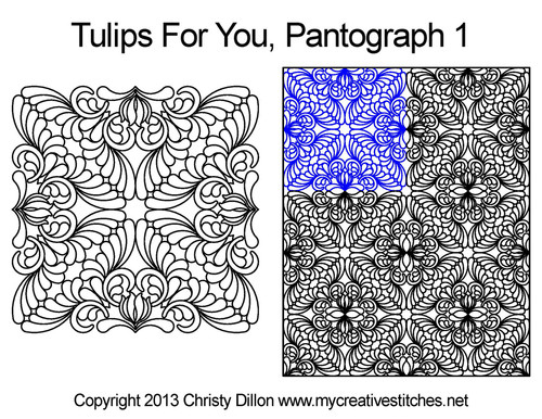 Tulips for you digital quilting pantographs 1