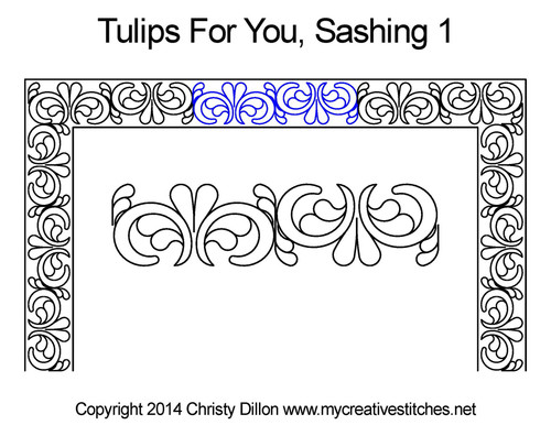 Tulips for you sashing 1 quilting design