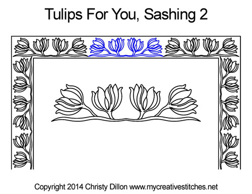 Tulips for you sashing 2 quilting pattern