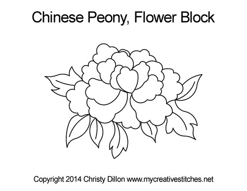 Chinese peony flower block quilt pattern